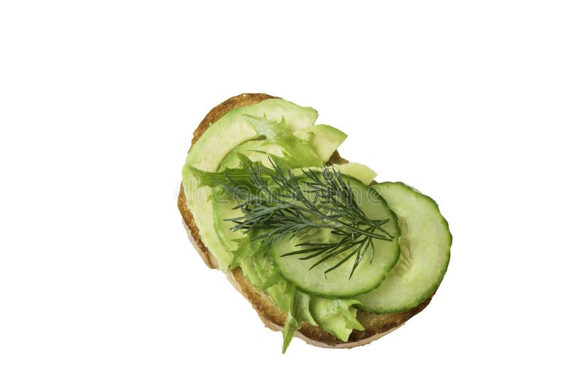 Raw vegetables sandwich isolated on white background royalty free stock photography