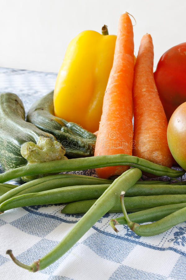 Raw Vegetables On The Tablecloth Stock Photo