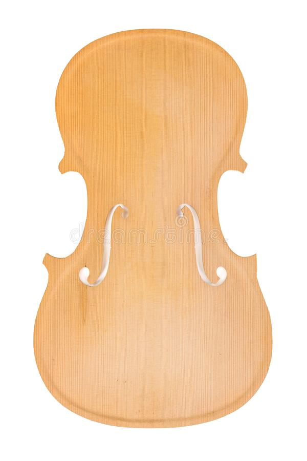 Raw violin body or belly. Isolated on white background stock photography