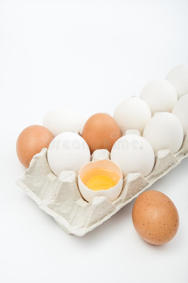 Raw white eggs isolated. On a white background stock images