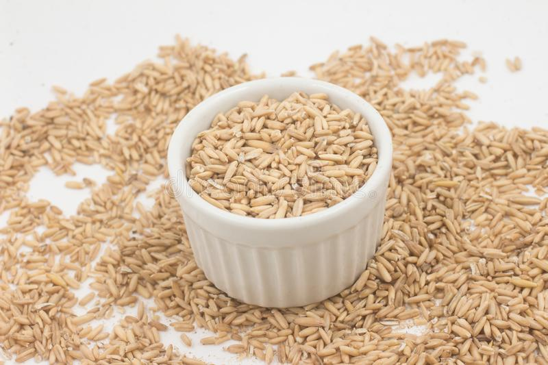 Raw wholegrain oats in a bowl stock photos