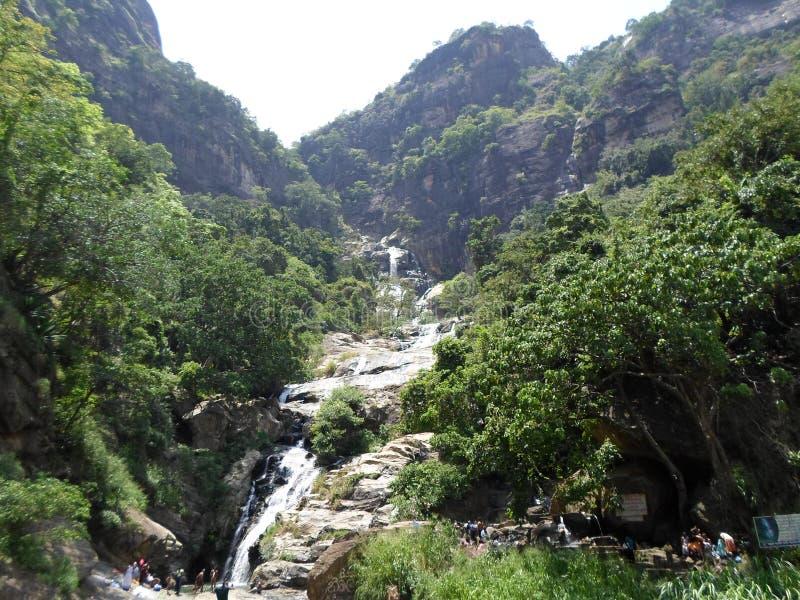 Rawana water falls in lanka royalty free stock photo