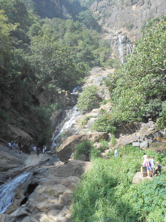Rawana waterfall in Sri Lanka stock photos