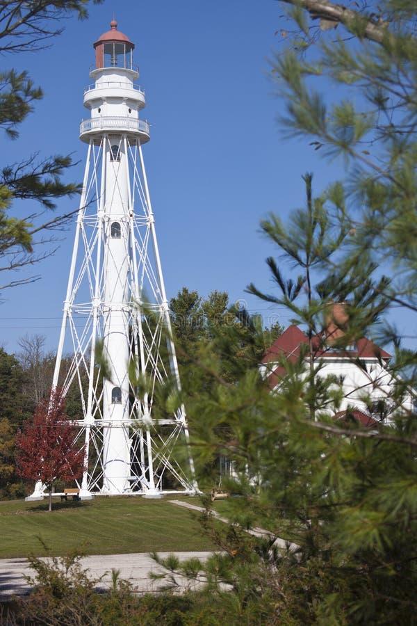 Rawley punktfyr av Lake Michigan fotografering för bildbyråer