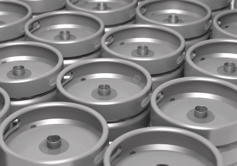 Steel beer kegs in store 3d illustration. Raws of steel beer keg in store 3d illustration royalty free illustration