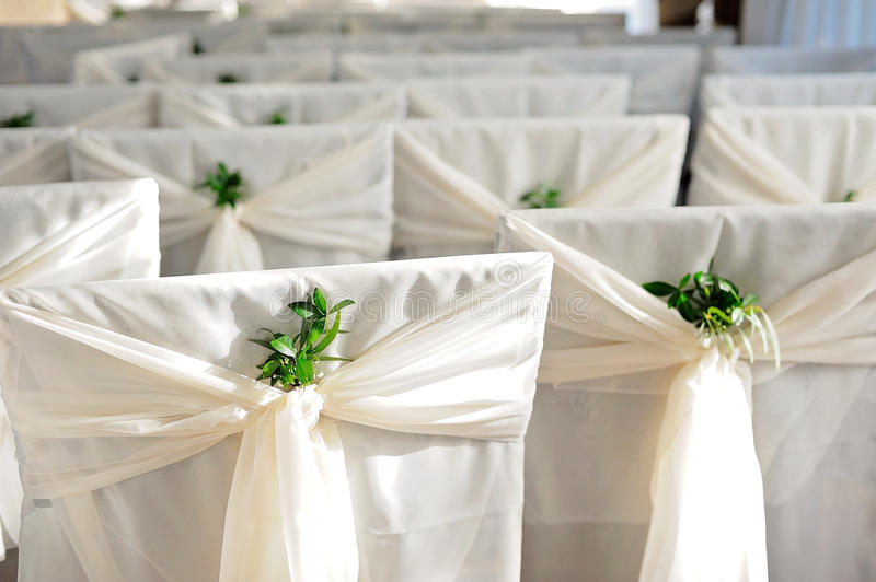 Download Raws Of White Wedding Chairs Decorated With Greenery Stock Image    Image Of Celebrate,