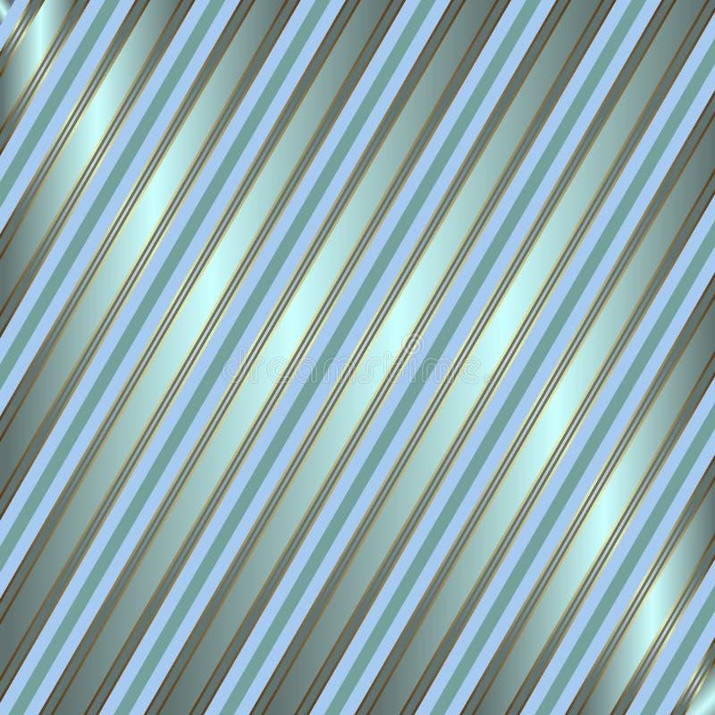 rayé argenté diagonal bleu de fond illustration stock