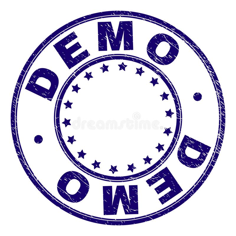 Rayé a donné à DEMO Round Stamp Seal une consistance rugueuse illustration libre de droits