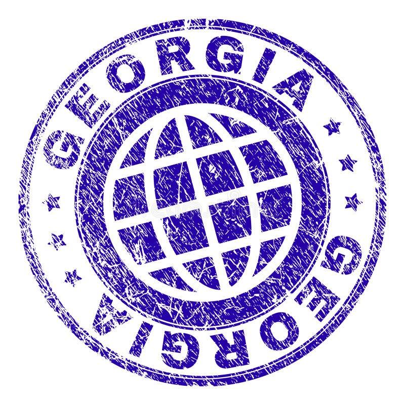 Rayé a donné à GEORGIA Stamp Seal une consistance rugueuse illustration de vecteur