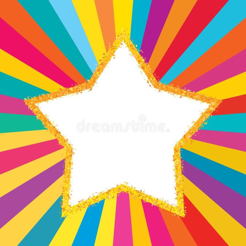 Ray błyskotliwości kolorowy gwiazdowy złoty szablon ilustracja wektor