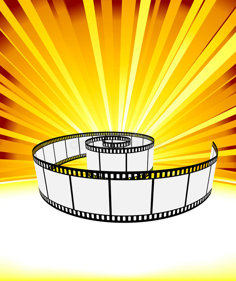 Ray background with film strip. Vector illustration royalty free illustration