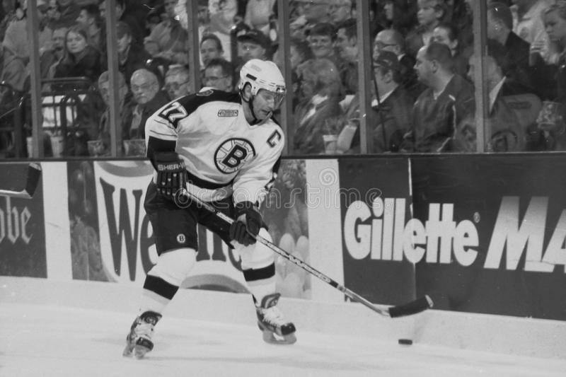 Ray Bourque. Boston Bruins Hall of Fame Defenseman Raymond Bourque.Film scan, visible grain stock images