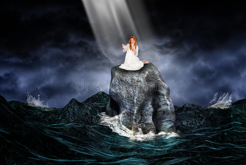 Ray of Hope. A fair beautiful redhead maiden is stranded on a rock in the middle of an ominous sea or ocean. The woman reaches out to a ray of hope to be saved