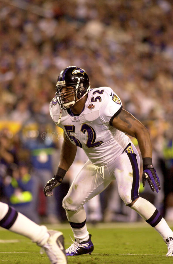 Ray Lewis in Super Bowl XXXV. Baltimore Ravens LB Ray Lewis. (Image taken from color slide royalty free stock image