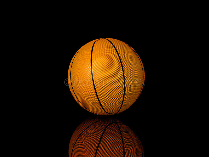 In a ray of light. Close-up of a basketball against a dark background vertical. 3d illustration vector illustration