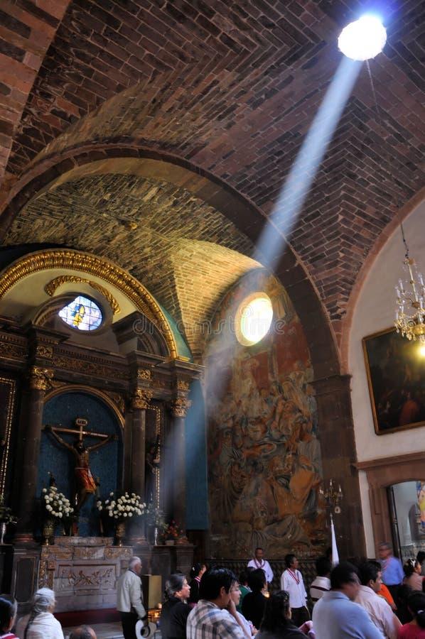 Ray of light at church royalty free stock photo