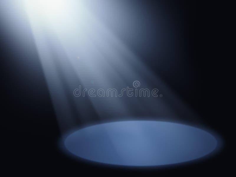 Ray of light on scene. Bright ray of light illuminating a bit of dark scene stock illustration