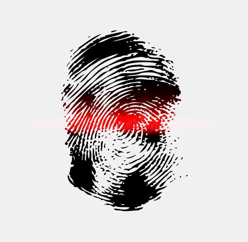 Ray-Scanner-Scan-Fingerabdruck lizenzfreie abbildung