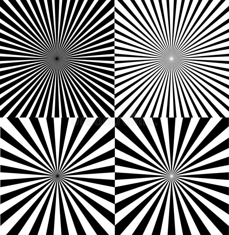 Ray Star Burst Background Set in bianco e nero Vettore royalty illustrazione gratis