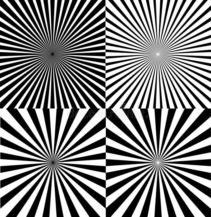 Ray Star Burst Background Set blanco y negro Vector libre illustration