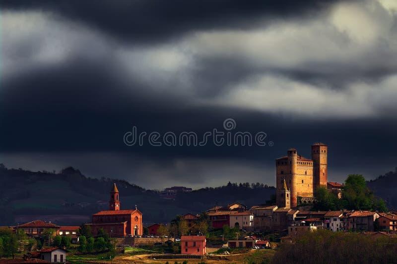 Langhe - Stormy sky over Serralunga d`Alba. royalty free stock photo