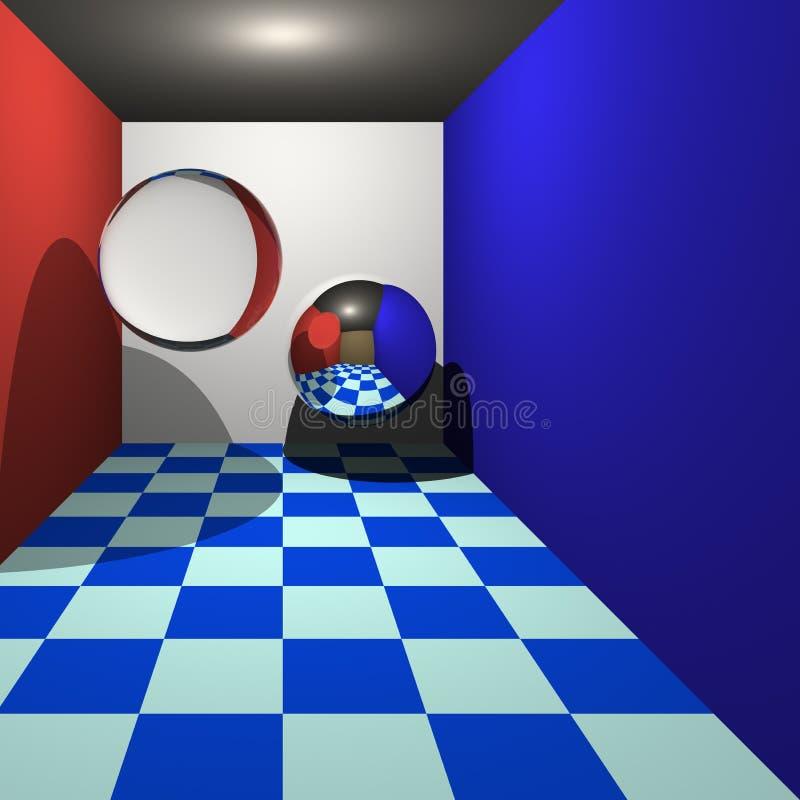 Ray Traycing 3d royalty free illustration