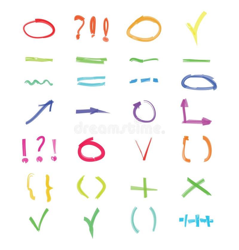 Raya del énfasis del marcador del vector y sistema del rojo de la flecha Elementos dibujados mano del punto culminante libre illustration