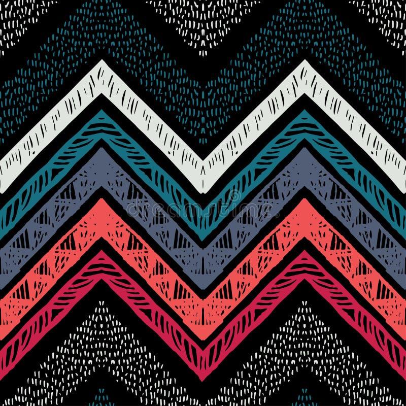 Raya el modelo inconsútil tribal brillante con zigzag libre illustration
