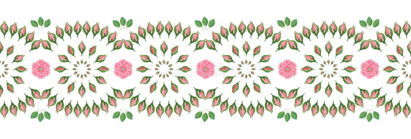 Raya/frontera inconsútiles decorativas con el modelo popular de la flor stock de ilustración