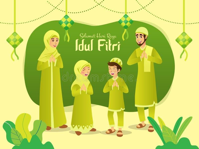 Raya Idul Fitri van Selamathari is een andere taal van gelukkige eid Mubarak in Indonesi?r Beeldverhaal moslimfamilie die Eid-al  stock illustratie