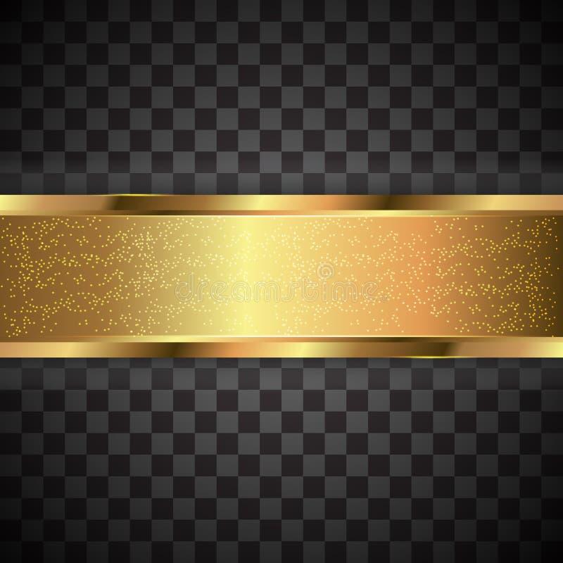 Raya negra con la frontera del oro en el fondo oscuro libre illustration