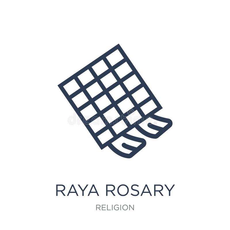 Raya Rosary-pictogram In vlak vectorraya rosary-pictogram op witte B royalty-vrije illustratie