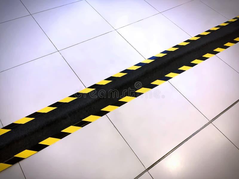 Rayas amonestadoras amarillas y negras en la cinta negra que cubre el conducto del alambre eléctrico en el piso imagen de archivo libre de regalías