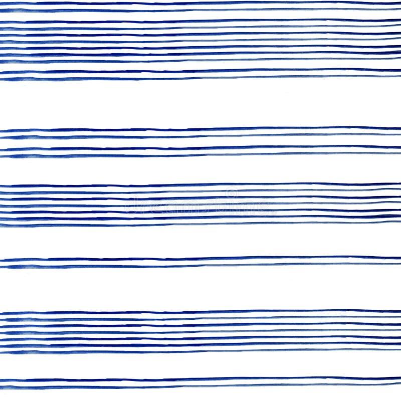 Rayas azules de Conecte de la pintura de la acuarela en el fondo blanco ilustración del vector
