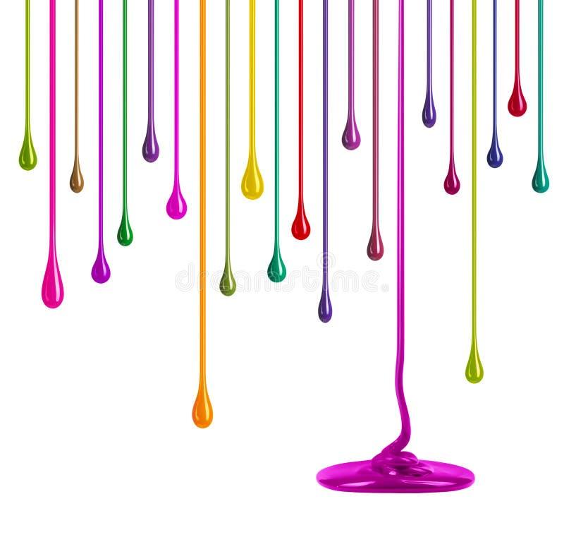 Rayas de la pintura multicolora bajo la forma de descensos en blanco fotografía de archivo