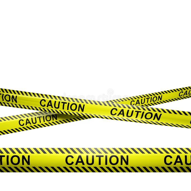 Rayas de la precaución aisladas en blanco con el copyspace imagen de archivo