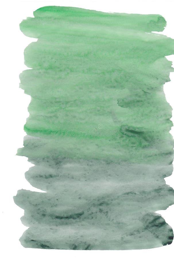 Rayas del fondo de la acuarela verdes para el diseño Chapoteo a mano de la acuarela imagen de archivo