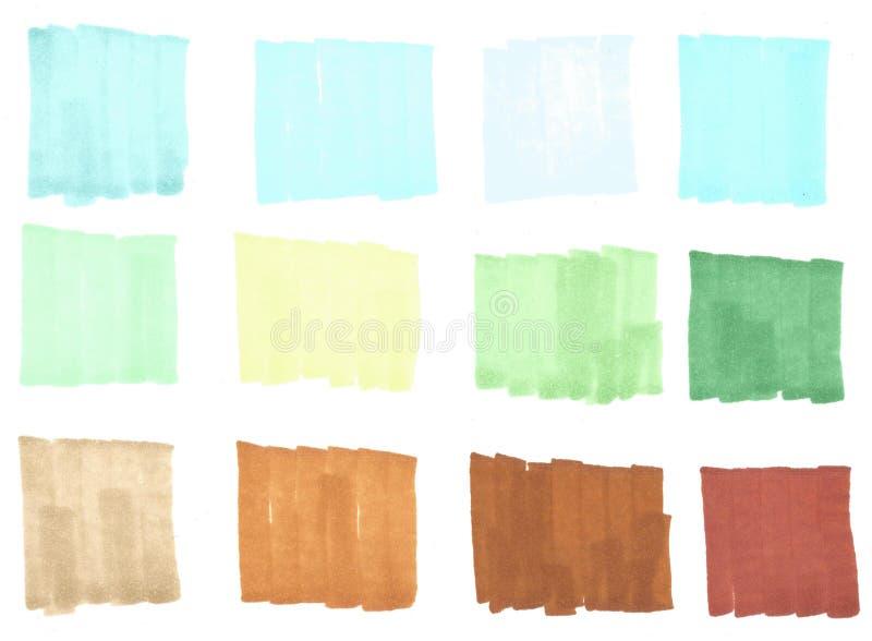 Rayas del punto culminante del color, banderas, cepillos dibujados con los marcadores, elementos elegantes del punto culminante p libre illustration