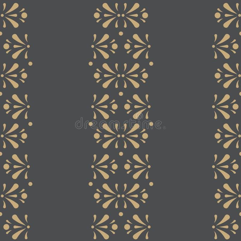 Rayas florales del vector en fondo inconsútil oscuro del modelo ilustración del vector
