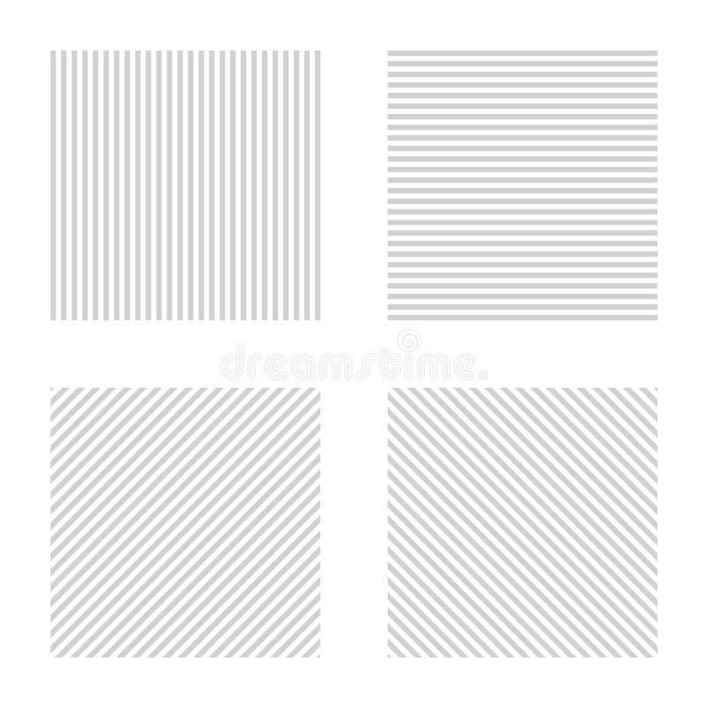 Rayas grises y blancas Colección rayada del fondo ilustración del vector