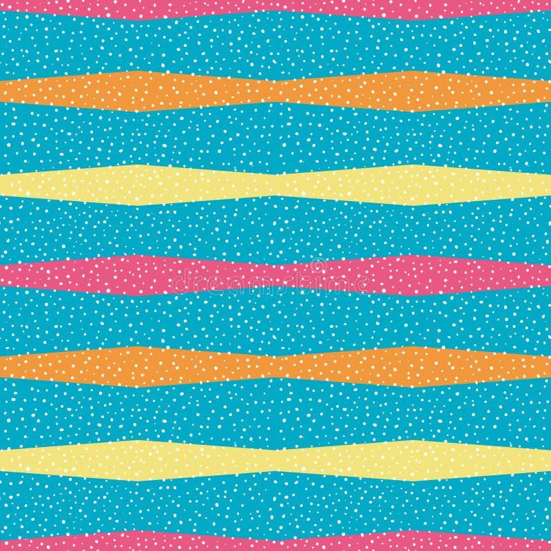 Rayas horizontales brillantes de la naranja, amarillas y rosadas del polígono con los puntos al azar Modelo inconsútil del vector ilustración del vector