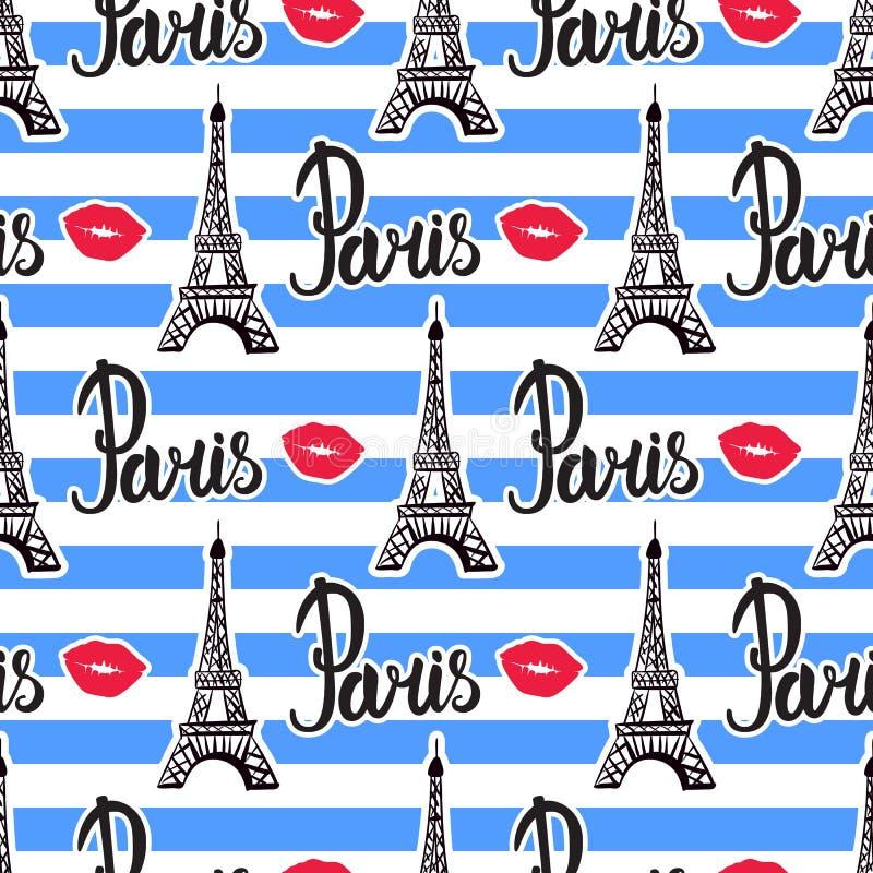 Rayas inconsútiles del modelo en París Torre Eiffel negra de la tinta del ejemplo Vector aislado en el fondo blanco stock de ilustración