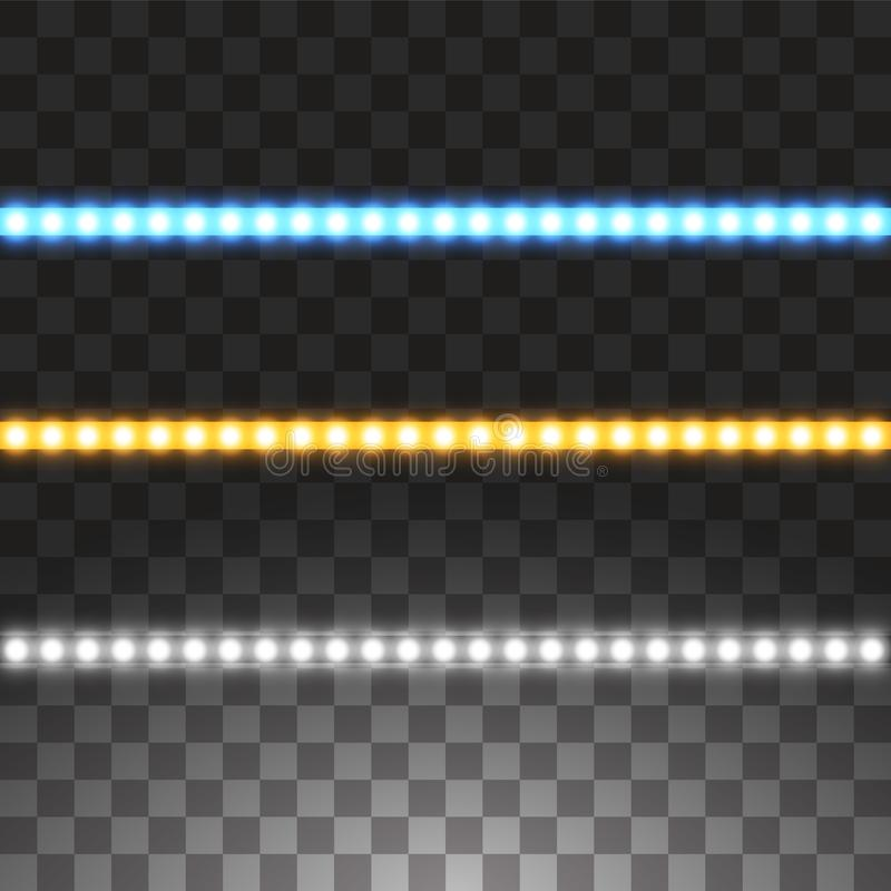 Rayas llevadas brillantes del vector, iluminación de neón en el fondo transparente, sistema de brillar intensamente amarillo, b ilustración del vector