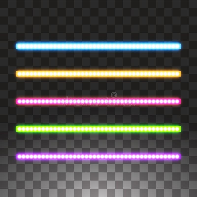 Rayas llevadas brillantes del vector, iluminación de neón en el fondo transparente, sistema de rosado, amarillo, púrpura, azul libre illustration