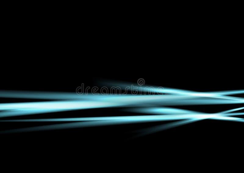 Rayas luminosas abstractas azules claras en fondo negro stock de ilustración