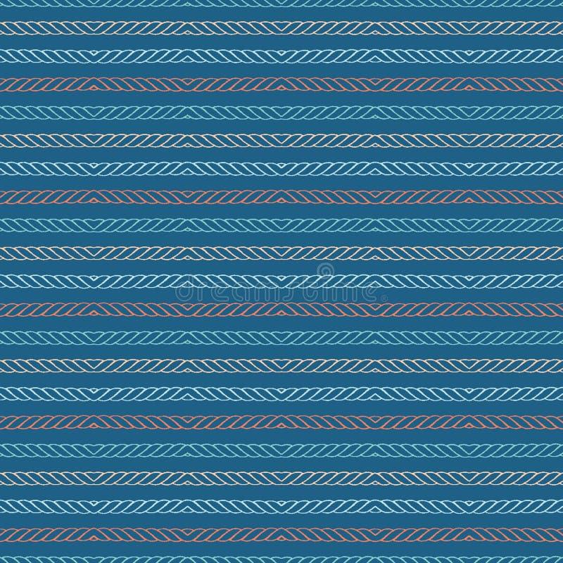 Rayas marítimas texturizadas exhaustas de la cuerda de la mano Modelo incons?til del vector Materias textiles costeras de la moda libre illustration