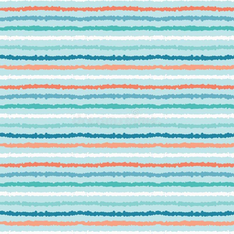 Rayas mar?timas texturizadas exhaustas de la mano Modelo incons?til del vector Materias textiles costeras de la moda de la playa  libre illustration