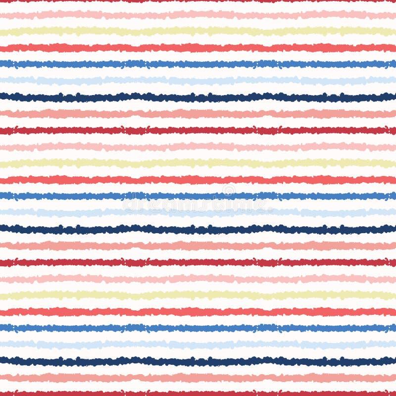 Rayas mar?timas texturizadas exhaustas de la mano Modelo incons?til del vector Materias textiles costeras de la moda de la playa  stock de ilustración