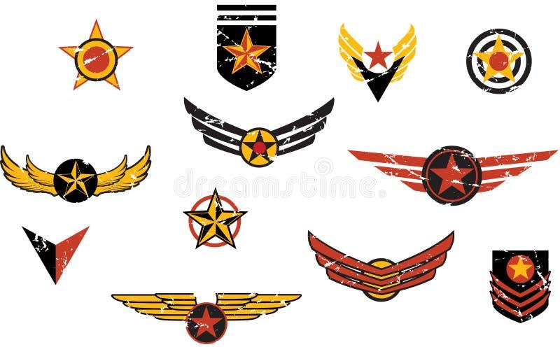 Rayas militares ficticias de los emblemas ilustración del vector