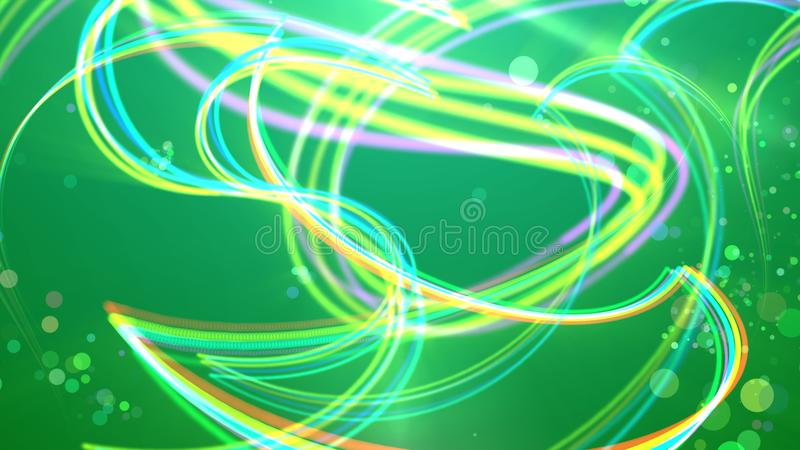 Rayas multicoloras en el fondo verde stock de ilustración